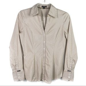 Express Tan White Striped Button Up Long Sleeve